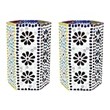 EarthenMetal Handcrafted Mosaic Design Decorated Hexgonal Shaped Tealight Holder (Candle Holder)-Set Of 2