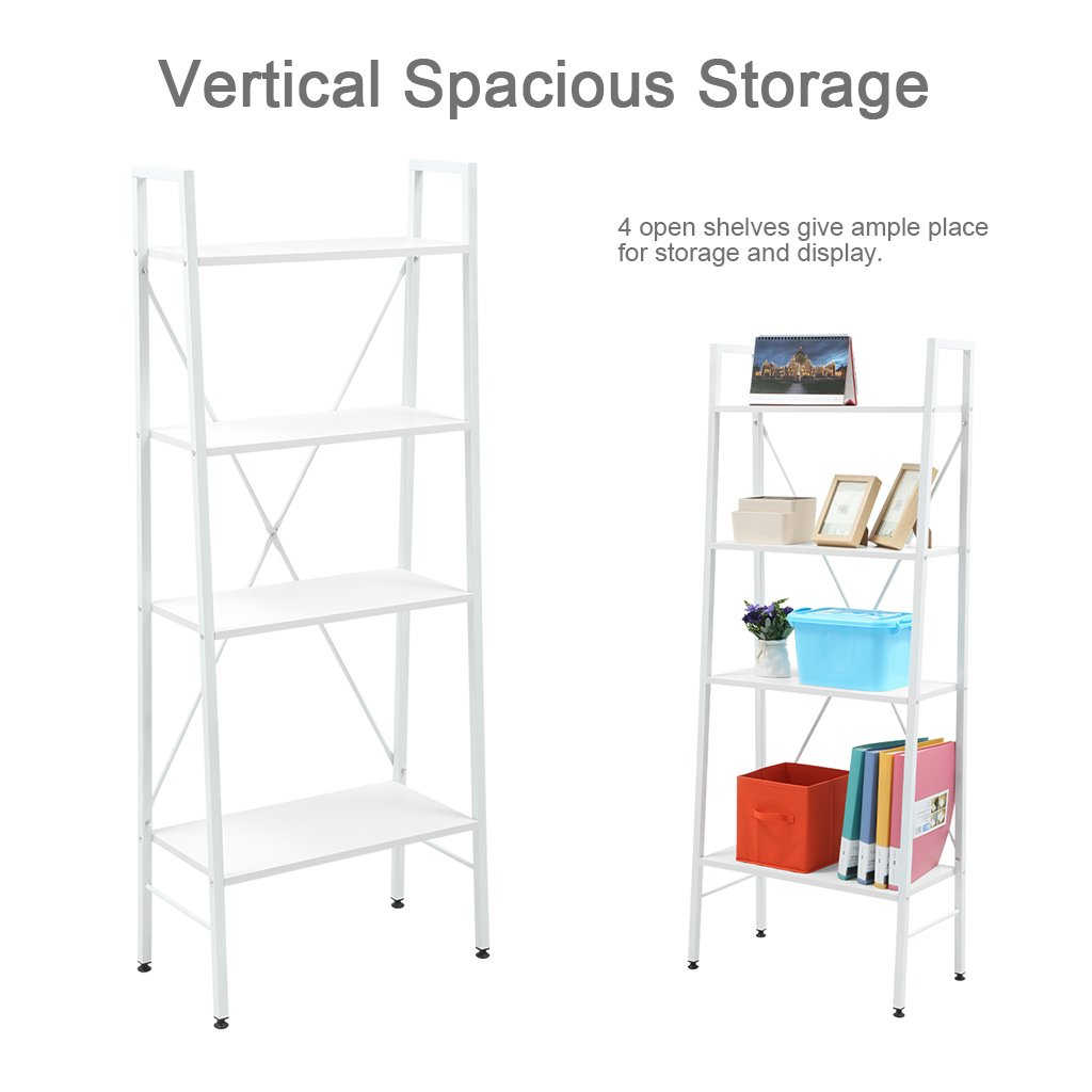 "LANGRIA 4-Shelf Ladder Bookcase Freestanding Leaning Bookshelf Storage Rack Organazation, Steel Frame, Home Office Use, Adjustable Feet, 23.6"" x 11.8""x 58.3"", White …"