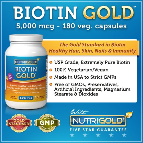 NutriGold Biotin 5000 mcg, 180 Vegetarian Capsules – The Gold Standard Biotin for Hair Growth, Skin and Nails