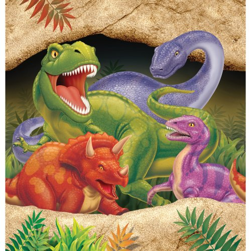 Creative Converting Dino Blast Plastic Table Cover, 54 by 108-Inch