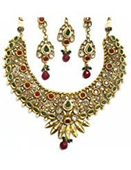 Shingar Jewellery Ksvk Jewels Antique Gold Plated Polki Kundan Look Necklace Set For Women - B00QWYVOW6