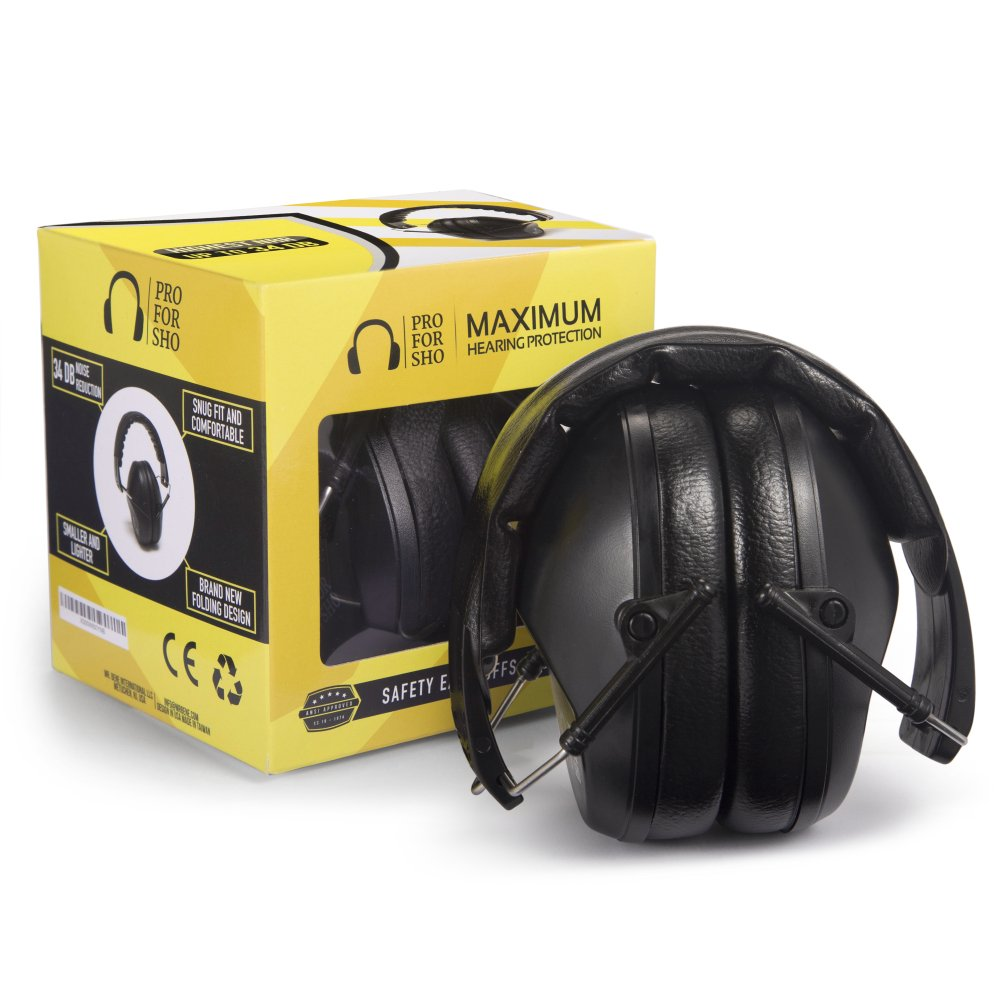 Pro For Sho 34dB Shooting Ear Protection - Special Designed Ear Muffs Lighter Weight & Maximum Hearing Protection , Black