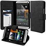 Abacus24-7 [Pocket Book] HTC One M7 Wallet Case with Screen Protector, Flip Cover & Stand Accessory - Black Leather