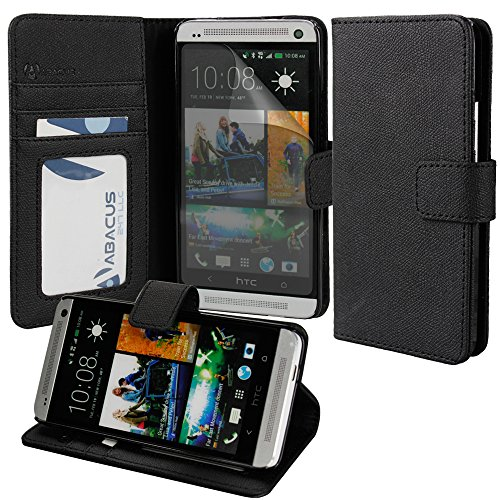 Abacus24-7 [Pocket Book] HTC One M7 Wallet Case with Flip Cover, Screen Protector & Stand