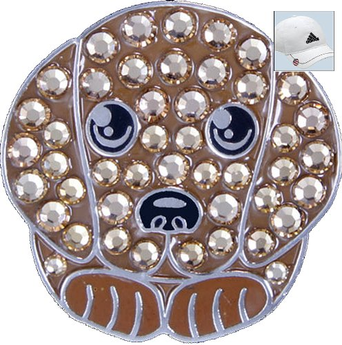 Bella Swarovski Crystal Golf Ball Marker & Hat Clip - Brown Puppy golf ball sample display case