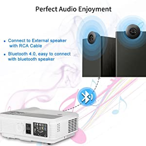 Home Wireless Bluetooth Projector HD HDMI Airplay Android