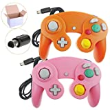 Poulep 2 Pack Classic Wired Gamepad Joystick Controllers Wii Game Cube Gamecube (Pink Orage) (Color: Pink Orage)