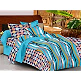 Casa Basics - Ezy Collection Sky Blue & Black Abstract Cotton Double Bedsheet With 2 Pillow Covers-144TC