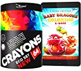 Crayons for Toddlers Babies Kids Bulk Gift Box Colored Crayon Pack Non Washable - 64 Classic Wax Colors -FREE Extra Gift: Coloring E-Book, Classroom Color Large Count Not Crayola - Eco School Supplies