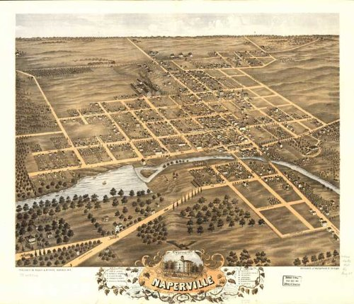 Bird's eye view of Naperville, DuPage County, Illinois 1869.