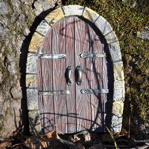 Miniature fairy garden gnome door double doors for Fairy house doors