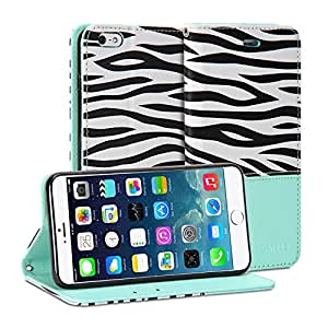 iPhone 6 Case, GMYLE Wallet Case Classic for iPhone 6 - Turquoise Blue Zebra Pattern PU Leather Slim Stand Case Cover