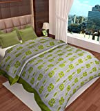 Home Candy Flowers Cotton Double Duvet Cover with Zipper - Green