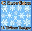 42 Original Snowflake Window Clings - Quick and Simple Christmas Decorations - Glueless PVC Stickers
