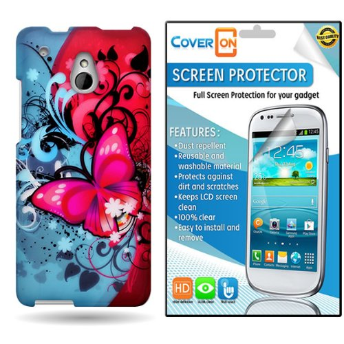 Coveron® Htc One Mini Hard Plastic Slim Case Cover Bundle With Clear Anti-Glare Lcd Screen Protector - Butterfly Bliss
