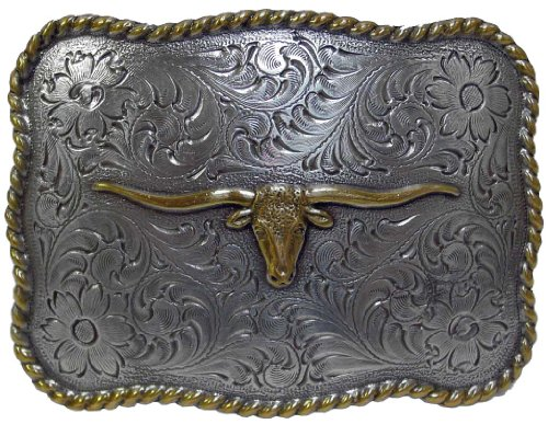 Antique Gold and Silver Texas Longhorn Steer Engraved Western Belt Buckle