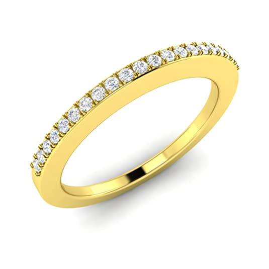 0.15 Ct Natural SI Diamond Eternity Wedding Band / Anniversary Ring in 18ct Solid Yellow Gold