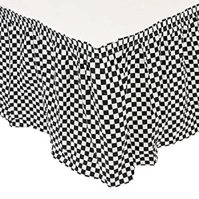 Plastic Black & White Checkered Pleated Table Skirt Racing Party Decoration