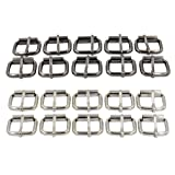 DGOL 20pcs 1 inch Strong Belt Pin Buckle Strap Webbing Roller Buckles Silver and Gunmetal (Color: silver and gunmetal, Tamaño: 1