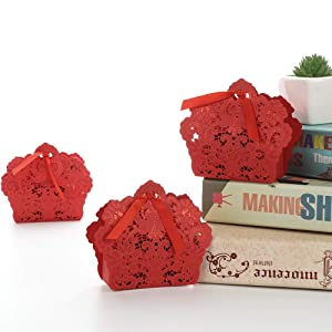 50pcs Wedding Party Favor Boxes,Luxury Lace Candy Chocolate Boxes Bags, Laser Cut Boxes,Gift Boxes With Ribbons Wedding Supplies For Wedding Bridal Shower Baby Shower Birthday Party Anniverary Red (Color: Red, Tamaño: 10.5*3.4*9.4cm)