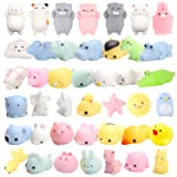 WATINC Random 30 Pcs Cute Animal Mochi Squishy, Kawaii Mini Soft Squeeze Toy,Fidget Hand Toy for Kids Gift,Stress Relief,Decoration, 30 Pack (Color: A-animal 30pcs)