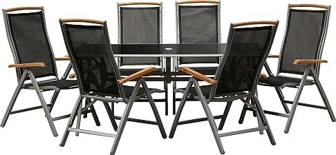 IB-Style - Mobili da gardino BOLOGNA | 6 variazioni | 1x tavolo 90 x 150 cm + 6x sedia pieghevole in argento / nero / teak | grouppo - set - lounge - resistente alle intemperie