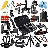 Erligpowht Lot de 36 accessoires professionnels pour GoPro Hero4 Black/Silver Hero 4/3+/3/2/1 - Housse antichoc+ bandeau + harnais poitrine + support de poignet inclinable + support pour guidon de vélo + Trépied + Perche extensible + ventouse pour voiture + flotteyr + 2 Pack Surface J-Hook + 2 Pack Curved Adhesive Mounts + 2 Pack Flat Adhesive Mounts + 3 Pack Long Screw Bolt + Wrench Spanner Screw Tool