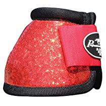 PROFESSIONALS CHOICE EQUINE SECURE FIT HOOF OVERREACH BELL BOOTS GLITTER ALL COLORS & SIZES (Red Glitter, Large)