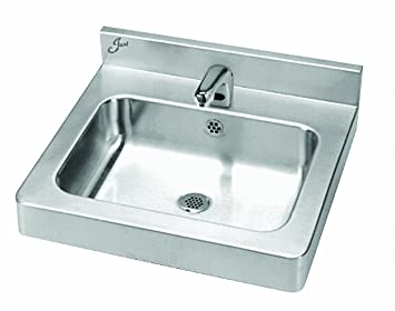 Just A-33338-S Single Compartment 18ga T-304 Stainless Steel Lavatory Sink Sensor Operated with Integral Backsplash and Apron - ADA Compliant