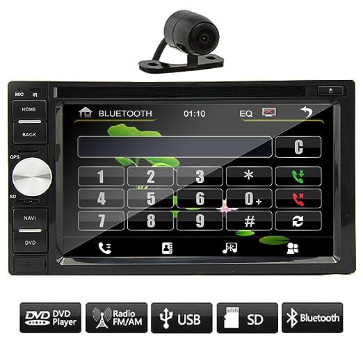 """Hot š€ double 2DIN 6.2 """"CamšŠra Lecteur tactile DVD de voiture Bluetooth stšŠršŠo USB SD Audio VidšŠo Headunit FM / AM RDS Radio + arriššre gratuit"""