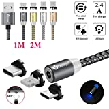 UGI 3 in 1 Magnetic Cable Micro USB Type C Lightning [6.6FT/2.4A] Fast Charging Android USB C Cord for Apple iPhone X 8 7 8 Plus 6 6s 5 se 5s Huawei Samsung Galaxy S4 S5 S6 S7 S8 S9 Plus Edge (Gray) (Color: 3 in 1 / Round / 6.6 feet / Gray)