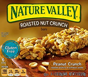 Nature Valley Gluten Free Roasted Nut Crunch Granola Bars, Peanut Crunch, 6-Count Boxes 1.2 oz Bars (Pack of 6)