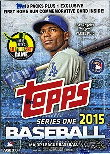 2015 Topps Series 1 MLB Baseball EXCLUSIVE Factory Sealed Retail Box with 10 Packs and 100 Cards! PLUS VERY SPECIAL HOME RUN Commemorative Medallion Card! Loaded with Cool Inserts and New Rookie Cards!