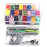 360pcs T5 Snap Button & Snap Press Pliers Sets,Plastic Snaps for Clothing/Crafting and Storage Box Organizer 24 Colors by Erlvery DaMain (Tamaño: still straws-modelHJ129)
