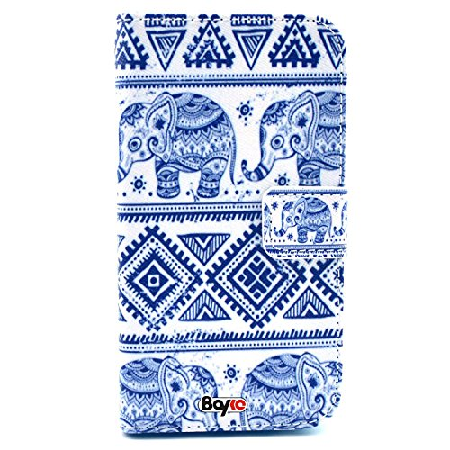 Bayke Brand / Lg G3 Case Pu Leather Wallet Type Flip Case Cover With Credit Card Holder Slots For Lg G3 2014 Smartphone (Aztec Tribal Elephant Pattern Design Print / Ethnic Elephant Seamless Pattern)