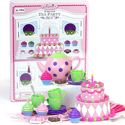 18 inch doll tea party cake play food set complete 25 for Garden tools for 18 inch doll