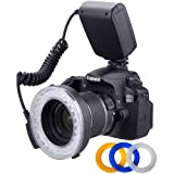 Polaroid 48 Macro LED Ring Flash & Light Includes 4 Diffusers (Clear, Warming, Blue, White) For The Canon, Nikon, Panasonic, Olympus, Pentax SLR Cameras (Will Fit 49,52,55,58,62,67,72,77mm Lenses)