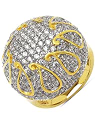 8.40 Grams White Cubic Zirconia Gold Plated Brass Ring