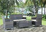 END OF SUMMER CLEARANCE Rattan Effect Garden Furniture 2 Seater 2 Arm Chairs & Table in Chocolate Brown