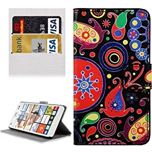 Crazy4Gadget Abstract Flowers Pattern Horizontal Flip Leather Case with Holder & Card Slots & Wallet for Microsoft Lumia 850