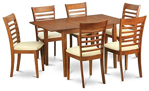 7-Pc Wooden Dining Set with Butterfly Table