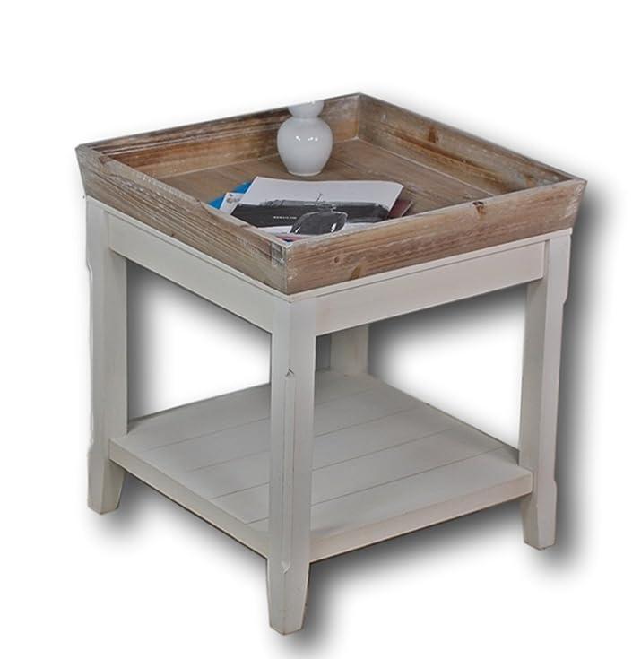 Tavolino in legno in bianco con un vassoio in legno marrone, ideale per la casa di campagna, leggero look vintage