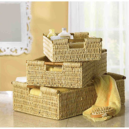 Pack of 3 Home Decor Woven Corn Husk Nesting Baskets w Bamboo Handles ceramic 3 piece nesting