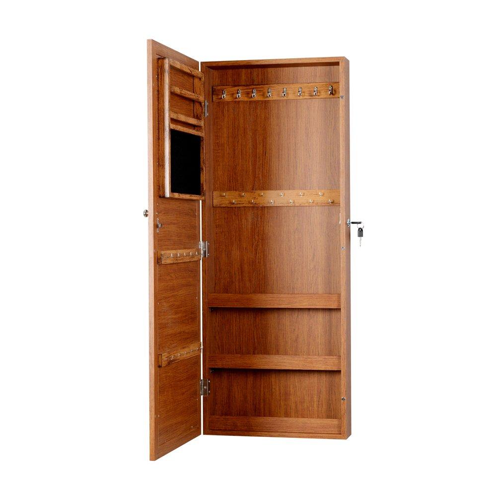 GLS Lockable Mirror Jewelry Armoire Box Wall Door Mount,Oak