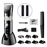 HATTEKER Hair Clippers for Men Trimmers Hair Cutting Machine Whole Body Washable Rechargeable Adjustable Cordless Display Hair Trimmer for Kids (Color: Grey)