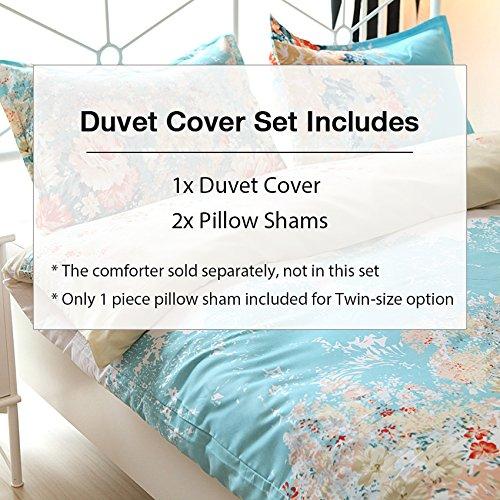 Vaulia Lightweight Duvet Cover Sets, Vintage Floral Pattern Design - Full/Queen Size 3