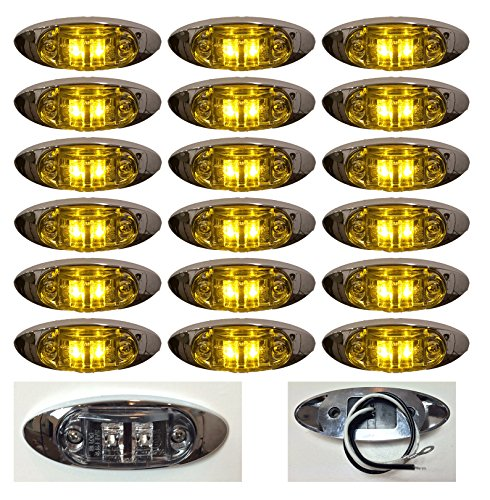"""18 New 4""""X1.5"""" Clear/Amber Led Surface Mount Clearance Marker Light With Chrome Bezel Oval Oblong -Good For Trucks Trailers Etc El-112692Ca"""