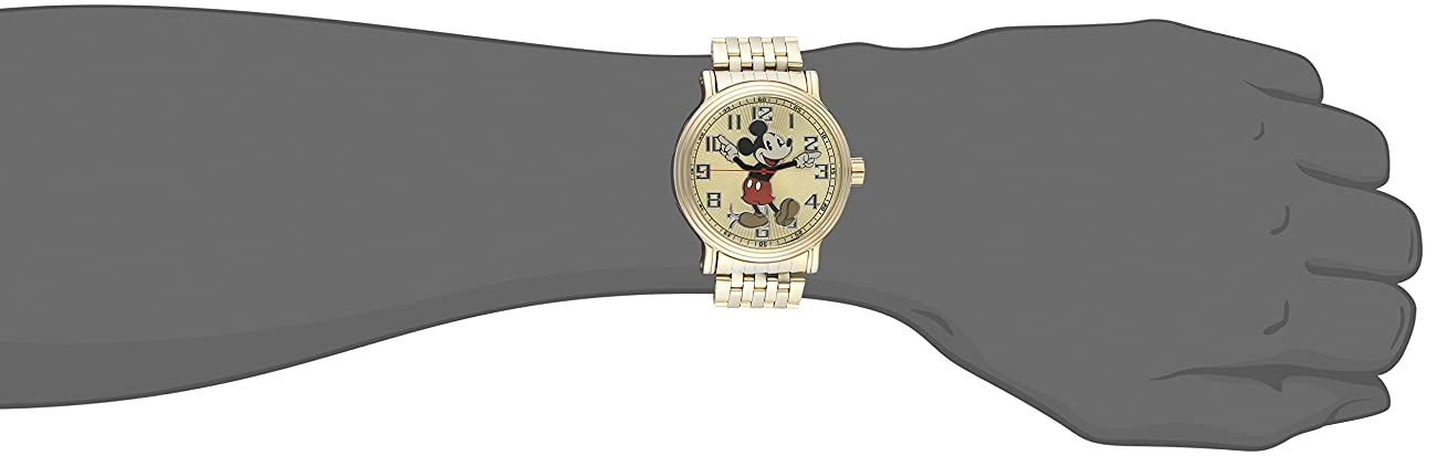 Disney Mickey Mouse Men's W002413 Mickey Mouse Analog Display Analog Quartz Gold Watch 1