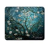 Cennbie マウスパッド レーザー&光学式マウス 対応 滑り止め miniマウスパッド ブラック PC ラップトップ 22x17cm (花咲くアーモンドの木 )