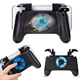 Pakesi Mobile Game Controller for PUBG 4-in-1 Upgrade Version Gamepad Shoot and Aim Trigger Phone Cooling Pad Power Bank for Android & iOS Fortnite/Knives Out (Blue Light-4000mah) (Color: Black(Blue Light-4000mah), Tamaño: Blue Light-4000mah)